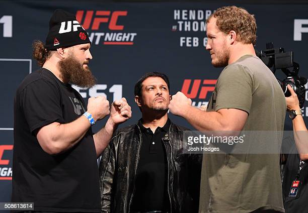 Opponents Roy Nelson and Jared Rosholt face off during the UFC Fight Night weighin at the MGM Grand Conference Center on February 5 2016 in Las Vegas...