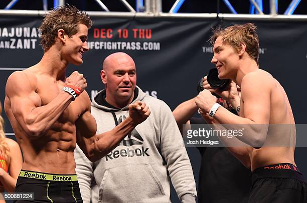 Opponents Sage Northcutt and Cody Pfister face off during the UFC Fight Night weighin inside MGM Grand Garden Arena on December 9 2015 in Las Vegas...