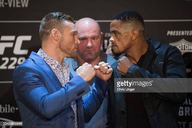 Opponents Scott Holtzman and Alan Patrick of Brazil face off during the UFC 229 Ultimate Media Day at the Park MGM Las Vegas on October 4 2018 in Las...