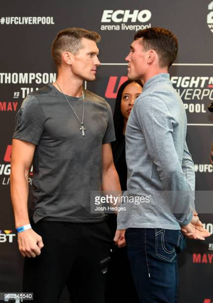 Opponents Stephen Thompson and Darren Till of England face off the UFC Ultimate Media Day at BT Convention Centre on May 25 2018 in Liverpool England