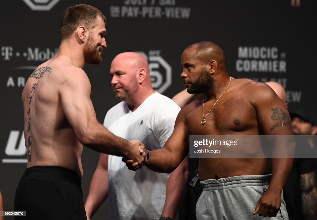 Opponents Stipe Miocic and Daniel Cormier face off during the UFC 226 weigh-in inside T-Mobile Arena on July 6, 2018 in Las Vegas, Nevada.