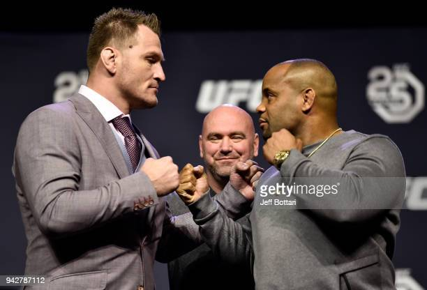 Opponents Stipe Miocic and Daniel Cormier face off during the UFC press conference inside Barclays Center on April 6 2018 in Brooklyn New York