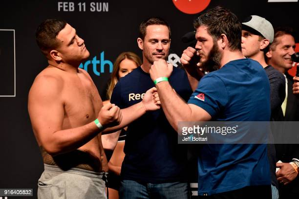 Opponents Tai Tuivasa of Australia and Cyril Asker of France face off during the UFC 221 weighin at Perth Arena on February 10 2018 in Perth Australia