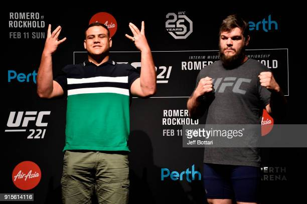 Opponents Tai Tuivasa of Australia and Cyril Asker of France pose for the media during the UFC 221 Ultimate Media Day at Hyatt Regency on February 8...
