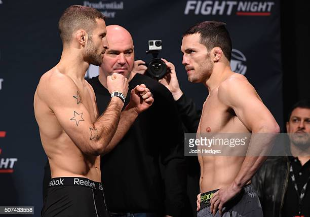 Opponents Tarec Saffiedine of Belgium and Jake Ellenberger face off during the UFC Fight Night weigh-in at the Prudential Center on January 29, 2016...