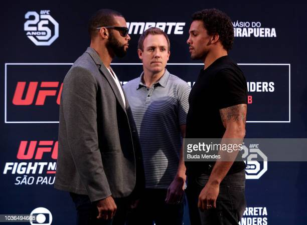 UFC men's welterweight contender Carlo Pedersoli of Italy interacts with media during the UFC Fight Night ultimate media day at Pestana Hotel on...