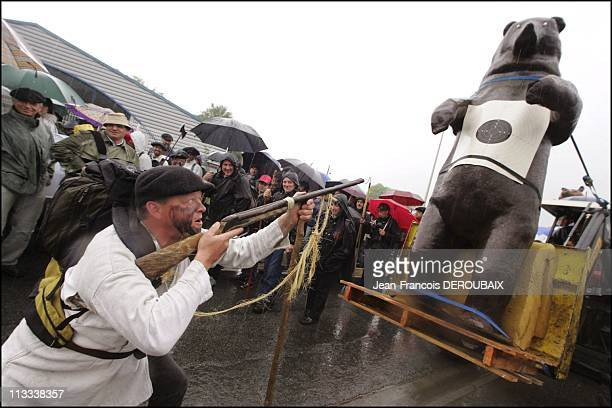 Opponents To Reintroduction Of Bears In The Pyrenees Demonstrate In Bagneres-De-Bigorre - On May 13Th, 2006 - In Bagneres De Bigorre, France - Here,...