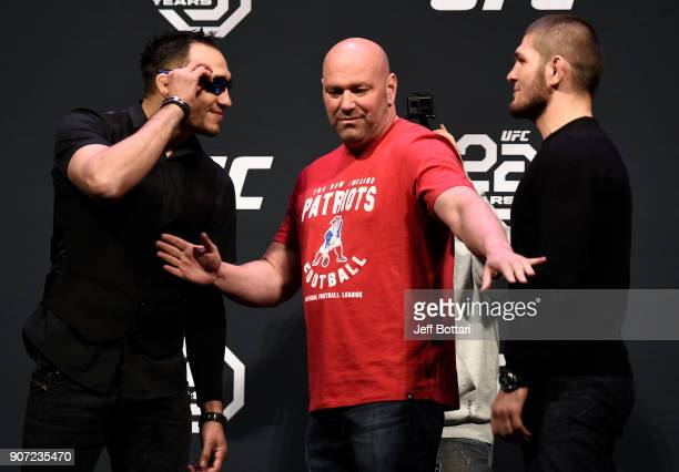 Opponents Tony Ferguson and Khabib Nurmagomedov face off during the UFC press conference at TD Garden on January 19 2018 in Boston Massachusetts