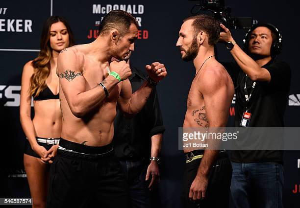 Opponents Tony Ferguson and Lando Vannata face off during the UFC Fight Night weighin at Denny Sanford Premier Center on July 12 2016 in Sioux Falls...