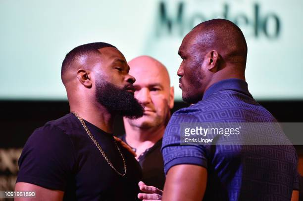 Opponents Tyron Woodley and Kamaru Usman face off during the UFC 235 Press Conference inside the David Copperfield Theater at MGM Grand on January 31...