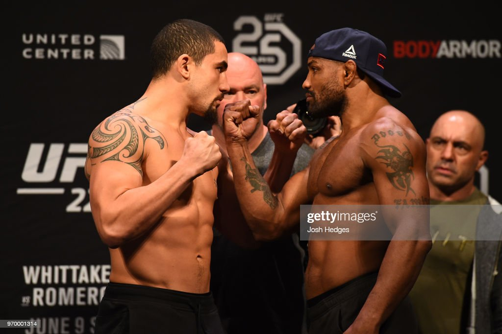 Opponents UFC Middleweight Champion Robert Whittaker of New Zealand and Yoel Romero of Cuba face off during the UFC 225 weigh-in at the United Center on June 8, 2018 in Chicago, Illinois.