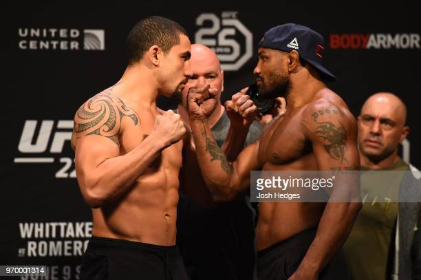 Opponents UFC Middleweight Champion Robert Whittaker of New Zealand and Yoel Romero of Cuba face off during the UFC 225 weighin at the United Center...