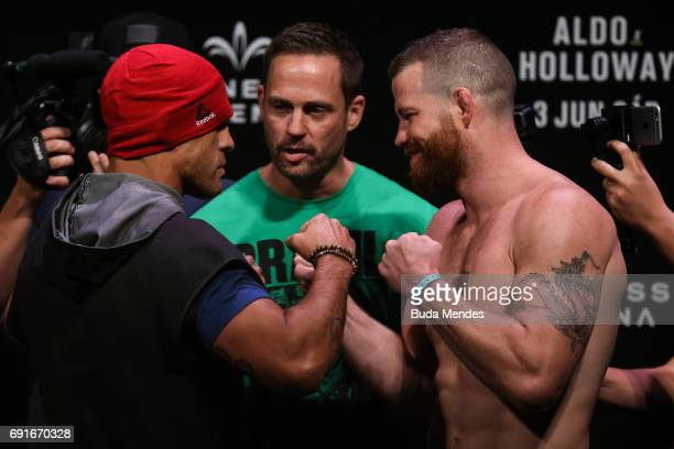 Opponents Vitor Belfort of Brazil and Nate Marquardt of the United States face off during the UFC Fight Night weighin at Jeunesse Arena on June 02...