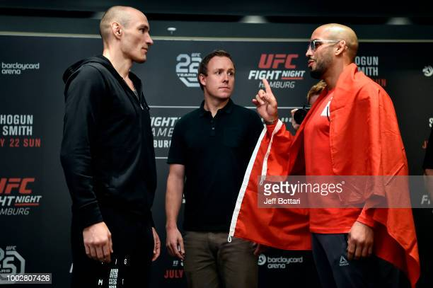 Opponents Vitor Miranda of Brazil and Abu Azaitar of Germany face off for the media during the UFC Fight Night Ultimate Media Day event at the...