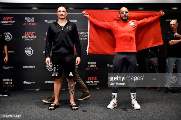 Opponents Vitor Miranda of Brazil and Abu Azaitar of Germany pose for the media during the UFC Fight Night Ultimate Media Day event at the Radisson...