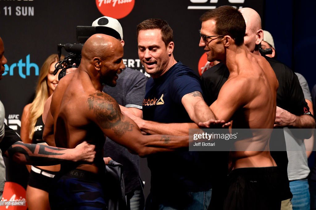Opponents Yoel Romero of Cuba and Luke Rockhold face off during the UFC 221 weigh-in at Perth Arena on February 10, 2018 in Perth, Australia.