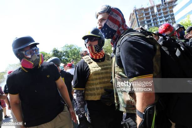 Opposing Altright activists antifascist protestors and people on all sides of the political spectrum gather for a campaign rally organized by...