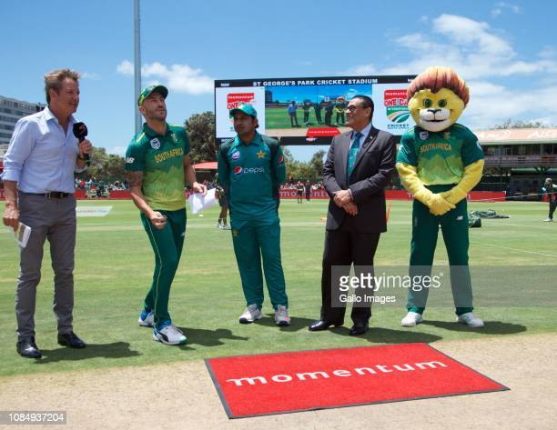 Opposing Captains Faf du Plessis of South Africa and Sarfraz Ahmed of Pakistan peform the coin toss prior to the 1st Momentum One Day International...