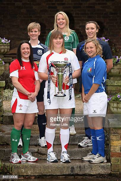 Opposing captains Melissa Berry Lynn Reid Catherine Spencer Joy Neville Sandra Rabier and Paola Zangirolami pictured during the launch of the RBS 6...