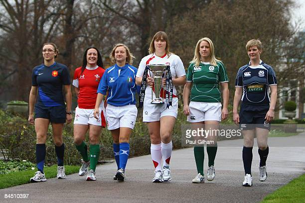 Opposing captains Sandra Rabier Melissa Berry Paola Zangirolami Catherine Spencer Joy Neville and Lynn Reid pictured during the launch of the RBS 6...