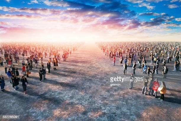 Opposing crowds of people
