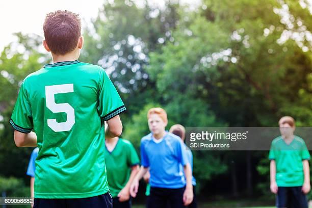 Opposing soccer teams during game