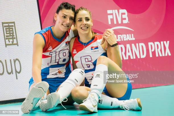 Opposite spiker Tijana Boskovic and Wing spiker Tijana Malesevic of Serbia pose for photo during the FIVB Volleyball World Grand Prix Hong Kong 2017...