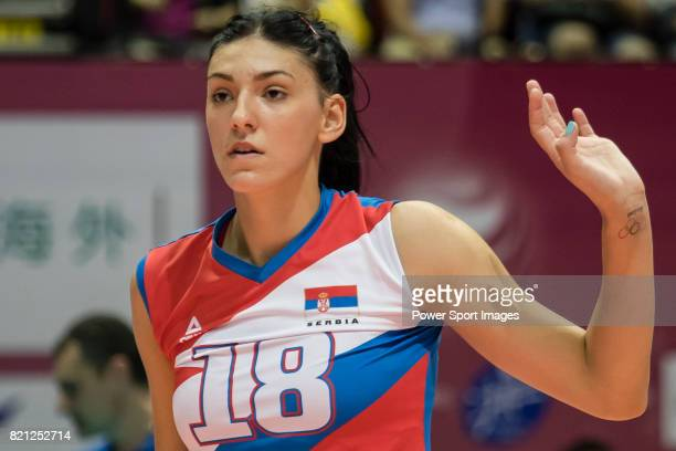 Opposite spiker Tijana Boskovic of Serbia reacts during the FIVB Volleyball World Grand Prix Hong Kong 2017 match between China and Serbia on July 23...