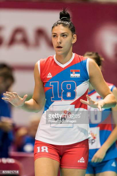 Opposite spiker Tijana Boskovic of Serbia reacts during warm up section prior the FIVB Volleyball World Grand Prix Hong Kong 2017 match between Japan...