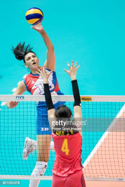 Opposite spiker Tijana Boskovic of Serbia spikes the ball during the FIVB Volleyball World Grand Prix Hong Kong 2017 match between China and Serbia...