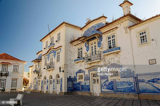 opposite the railway station of aveiro portugal - portuguese culture stock pictures, royalty-free photos & images