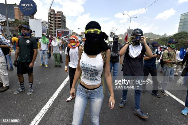 Opposition activists march in Caracas on April 26 2017 Protesters in Venezuela plan a highrisk march against President Maduro Wednesday sparking...