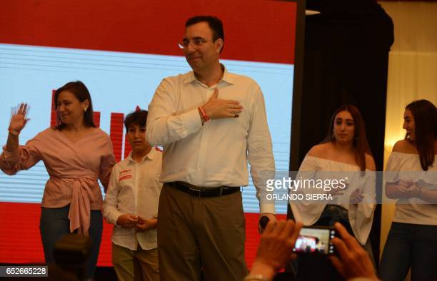 Opposition candidate of the Liberty Party, Luis Zelaya, addresses supporters after declaring victory in the primary elections in Tegucigalpa, on...