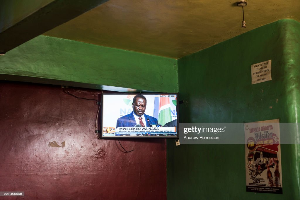 Opposition candidate Raila Odinga is seen on television in a bar in the Mathare North neighborhood, on August 16, 2017 in Nairobi, Kenya. Odinga continued to reject the election results as he told his supporters that he would take the results to court and to demonstrate peacefully.