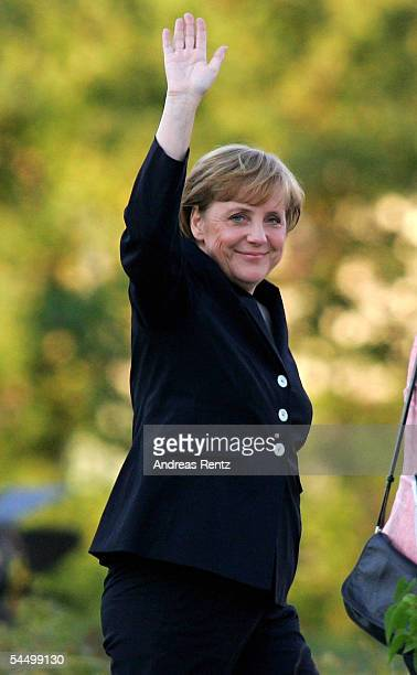 Opposition Chancellor candidate Angela Merkel of the Christian Democratic Union gestures as she arrives at the Studio Berlin September 4 2005 in...