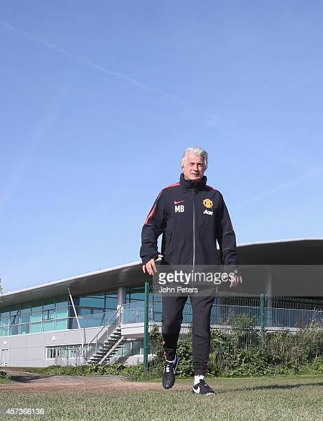 Opposition coach Marcel Bout of Manchester United in action during a first team training session at Aon Training Complex on October 17, 2014 in...