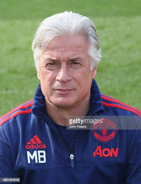Opposition coach Marcel Bout of Manchester United poses during the club's annual photocall at Old Trafford on September 28, 2015 in Manchester,...