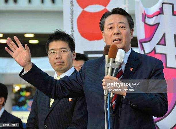 Opposition Democratic Party of Japan president Banri Kaieda makes a street speech after the lower house was dissolved on November 21 2014 in Tokyo...