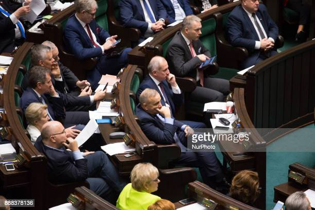 Opposition during the plenary session of Sejm in Warsaw Poland on 8 December 2017 Polish Sejm will vote on the new bills of the Supreme Court and the...
