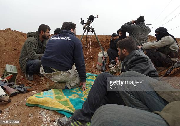 Opposition fighters from the Ahrar AlSham brigade part of the Islamic front coalition hold a position in the Sheikh Lutfi neighbourhood of the...