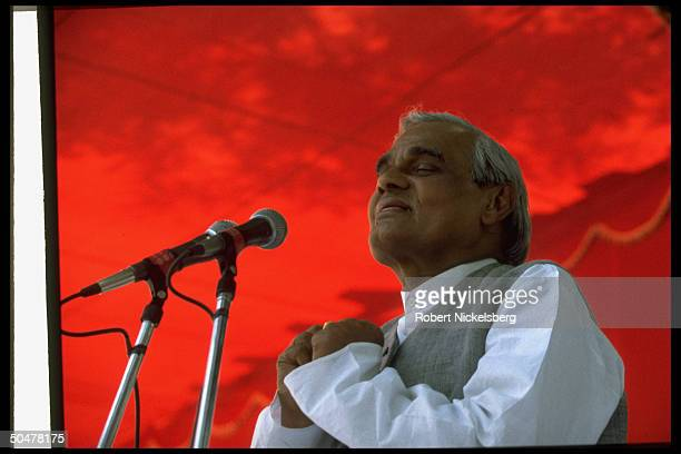 Opposition Hindu nationalist BJP party ldr. A.B. Vajpayee at Bharatiya Janata campaign rally before gen. Elections, possible PM cand. W. BJP victory.
