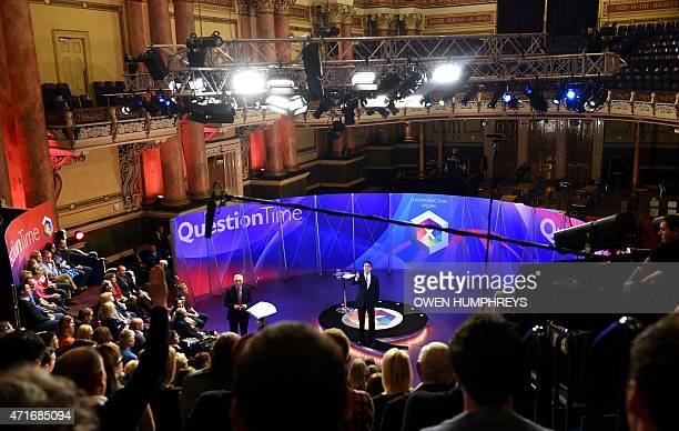 Opposition Labour Party leader Ed Miliband takes part in the BBC Question Time Election Leaders Special television program at Leeds Town Hall in...