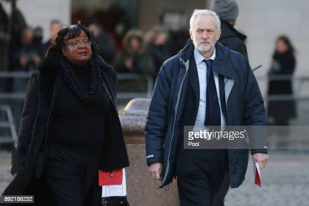 Opposition Labour party leader Jeremy Corbyn and shadow home secretary Diane Abbott arrive at St Paul's cathedral for a Grenfell Tower National...