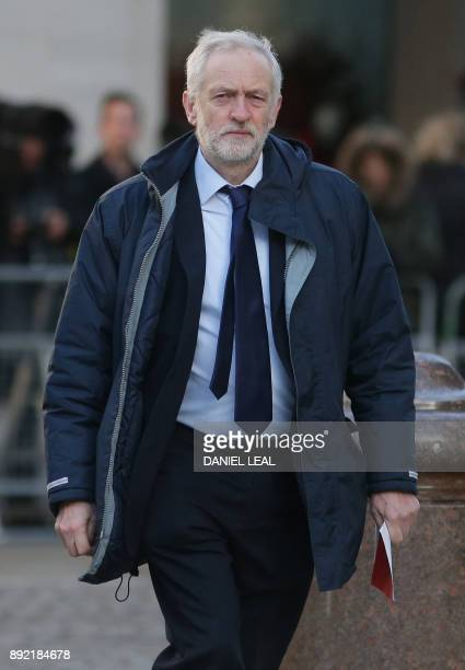 Opposition Labour party leader Jeremy Corbyn arrives at St Paul's cathedral for a Grenfell Tower National Memorial service on December 14 2017 in...