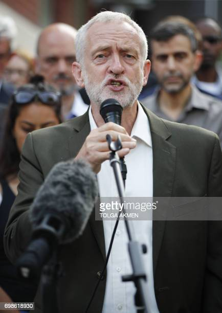 Opposition Labour party leader Jeremy Corbyn attends a vigil outside Finsbury Park Mosque in north London on June 20 following a van attack on...