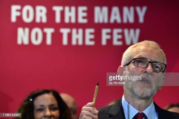 Opposition Labour party leader Jeremy Corbyn gives a speech on Labour's environment policies while on the campaign trail in Southampton southwest...