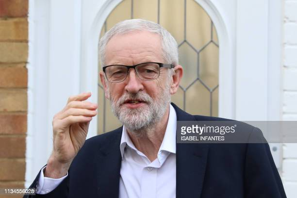 Opposition Labour party leader Jeremy Corbyn leaves his home in north London on April 3 2019 Corbyn said he would be very happy to sit down with...