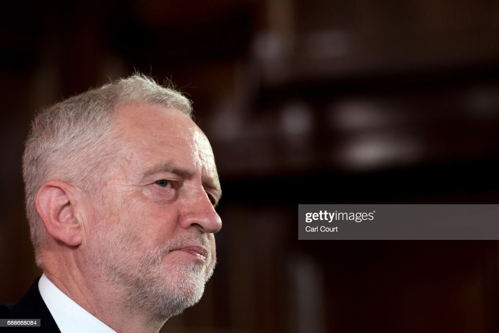 Opposition Labour Party leader Jeremy Corbyn makes a speech on defence on May 26, 2017 in London, England. Mr Corbyn stated that UK foreign policy would change under a Labour government to one that 'reduces rather than increases the threat' to the country, as election campaigning resumed after the attack in Manchester earlier this week.