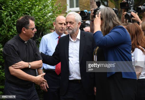 Opposition Labour party leader Jeremy Corbyn meets staff and volunteers at St Clement's Church in west London who have provided shelter and support...