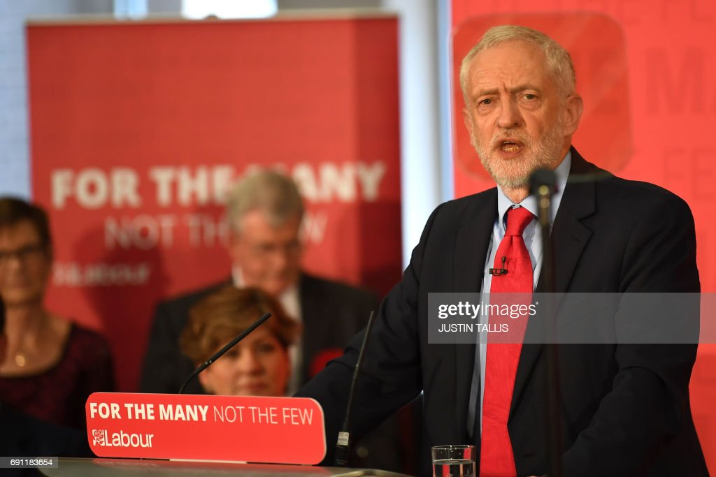 Opposition Labour Party leader Jeremy Corbyn speaks at an election campaign event in Basildon, east of London on June 1, 2017. / AFP PHOTO / Justin TALLIS